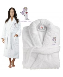 Deluxe Terry cotton with bride clipart CUSTOM TEXT Embroidery bathrobe
