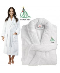 Deluxe Terry cotton with blonde bride clipart CUSTOM TEXT Embroidery bathrobe