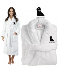 Deluxe Terry cotton with bride and groom silhouette CUSTOM TEXT Embroidery bathrobe
