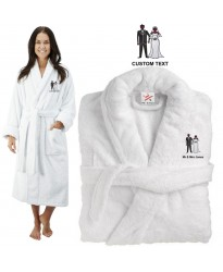 Deluxe Terry cotton with bride and groom CUSTOM TEXT Embroidery bathrobe