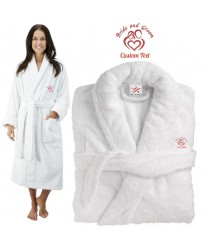 Deluxe Terry cotton with Bride and groom hearts CUSTOM TEXT Embroidery bathrobe