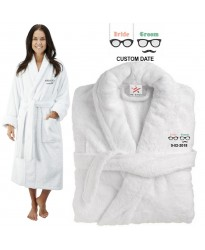 Deluxe Terry cotton with bride and groom glasses CUSTOM TEXT Embroidery bathrobe