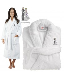 Deluxe Terry cotton with bride and groom graphic CUSTOM TEXT Embroidery bathrobe