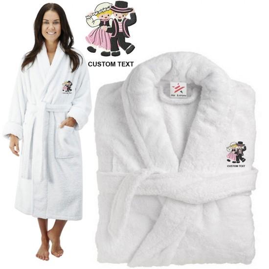 Deluxe Terry cotton with Cute Bride and Groom CUSTOM TEXT Embroidery bathrobe