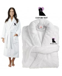 Deluxe Terry cotton with bride and groom heart CUSTOM TEXT Embroidery bathrobe