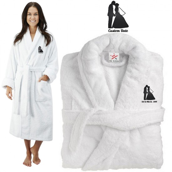 Deluxe Terry cotton with bride and groom kiss silhouette CUSTOM TEXT Embroidery bathrobe