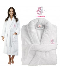 Deluxe Terry cotton with Bride and Groom Love CUSTOM TEXT Embroidery bathrobe