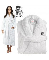 Deluxe Terry cotton with Bride And Groom Romantic CUSTOM TEXT Embroidery bathrobe