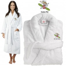 Deluxe Terry cotton with bride and groom air plane CUSTOM TEXT Embroidery bathrobe