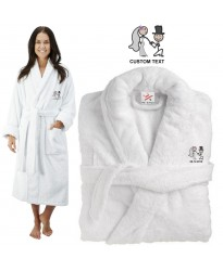 Deluxe Terry cotton with Cute groom Proposing Bride CUSTOM TEXT Embroidery bathrobe