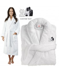 Deluxe Terry cotton with bride and groom quote CUSTOM TEXT Embroidery bathrobe
