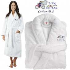Deluxe Terry cotton with bride and groom bike ride CUSTOM TEXT Embroidery bathrobe