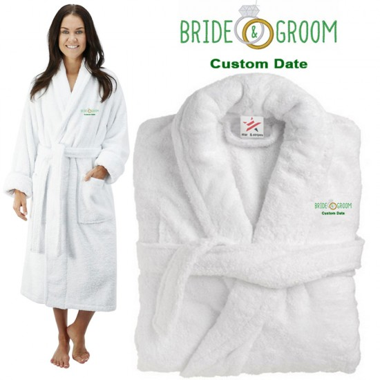 Deluxe Terry cotton with bride & grooms diamond ring CUSTOM TEXT Embroidery bathrobe
