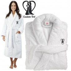 Deluxe Terry cotton with Bride and Groom Romance silhouette CUSTOM TEXT Embroidery bathrobe