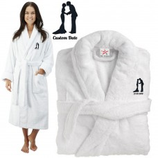 Deluxe Terry cotton with BRIDE & GROOM silhouette CUSTOM TEXT Embroidery bathrobe