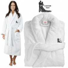 Deluxe Terry cotton with Bride and Groom beautiful silhouette CUSTOM TEXT Embroidery bathrobe