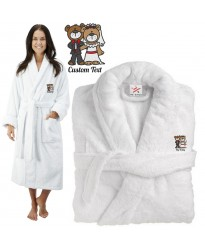 Deluxe Terry cotton with Cute Teddy Bride and Groom CUSTOM TEXT Embroidery bathrobe
