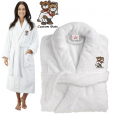 Deluxe Terry cotton with cute bear bride & groom CUSTOM TEXT Embroidery bathrobe