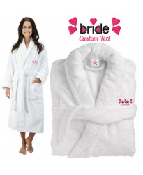 Deluxe Terry cotton with Bride with cute hearts CUSTOM TEXT Embroidery bathrobe