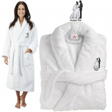 Deluxe Terry cotton with Bride and Groom Silhouette Design Embroidery bathrobe