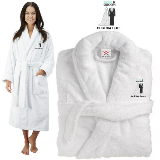 Deluxe Terry cotton with bride and groom wedding dress CUSTOM TEXT Embroidery bathrobe