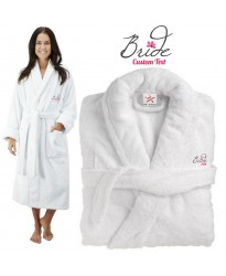 Deluxe Terry cotton with bride pink with flower CUSTOM TEXT Embroidery bathrobe
