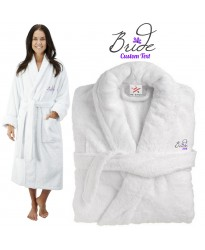 Deluxe Terry cotton with bride purple with flower CUSTOM TEXT Embroidery bathrobe