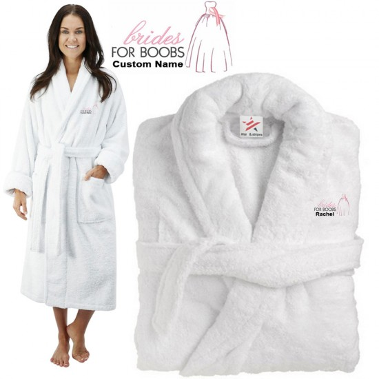 Deluxe Terry cotton with BRIDE FOR BOOBS CUSTOM TEXT Embroidery bathrobe