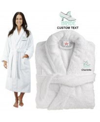 Deluxe Terry cotton with bride shoe CUSTOM TEXT Embroidery bathrobe