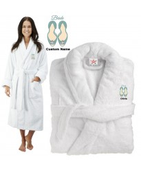 Deluxe Terry cotton with bride slippers CUSTOM TEXT Embroidery bathrobe