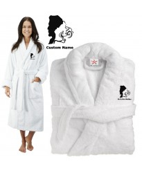 Deluxe Terry cotton with bride and groom romantic SILHOUETTE CUSTOM TEXT Embroidery bathrobe