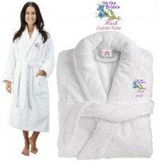 Deluxe Terry cotton with i am the bridesmaid flowers CUSTOM TEXT Embroidery bathrobe