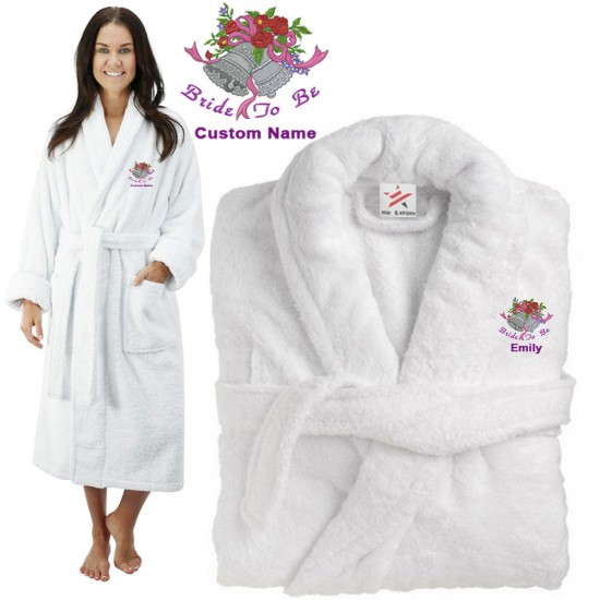 Deluxe Terry cotton with bride to be with bells CUSTOM TEXT Embroidery bathrobe