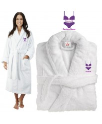 Deluxe Terry cotton with bride to be fancy bikini CUSTOM TEXT Embroidery bathrobe