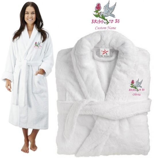 Deluxe Terry cotton with bride to be flower bird CUSTOM TEXT Embroidery bathrobe