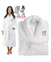 Deluxe Terry cotton with Bride to be cute couple CUSTOM TEXT Embroidery bathrobe