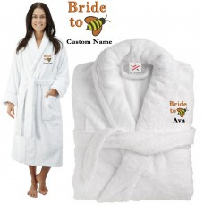 Deluxe Terry cotton with funny bride to be bee CUSTOM TEXT Embroidery bathrobe