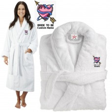 Deluxe Terry cotton with Bride to be with heart and arrow CUSTOM TEXT Embroidery bathrobe