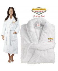 Deluxe Terry cotton with bachelorette party classic vegas design CUSTOM TEXT Embroidery bathrobe