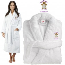 Deluxe Terry cotton with this bride is sweet ginger bread CUSTOM TEXT Embroidery bathrobe