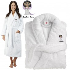 Deluxe Terry cotton with cute elegant bride CUSTOM TEXT Embroidery bathrobe