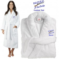 Deluxe Terry cotton with brother of the bride gun CUSTOM TEXT Embroidery bathrobe