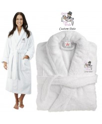 Deluxe Terry cotton with carry the bride tradition CUSTOM TEXT Embroidery bathrobe