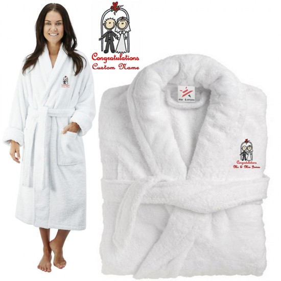 Deluxe Terry cotton with bride & groom congratulations CUSTOM TEXT Embroidery bathrobe