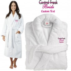 Deluxe Terry cotton with bride control freak CUSTOM TEXT Embroidery bathrobe