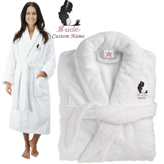 Deluxe Terry cotton with Cute Bride CUSTOM TEXT Embroidery bathrobe