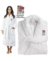 Deluxe Terry cotton with bear teddy bride CUSTOM TEXT Embroidery bathrobe