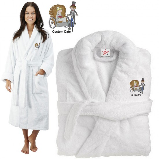 Deluxe Terry cotton with bride and groom traditional cycle  CUSTOM TEXT Embroidery bathrobe