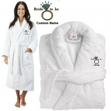 Deluxe Terry cotton with Bride to be with ring CUSTOM TEXT Embroidery bathrobe