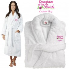 Deluxe Terry cotton with daughter of the bride CUSTOM TEXT Embroidery bathrobe